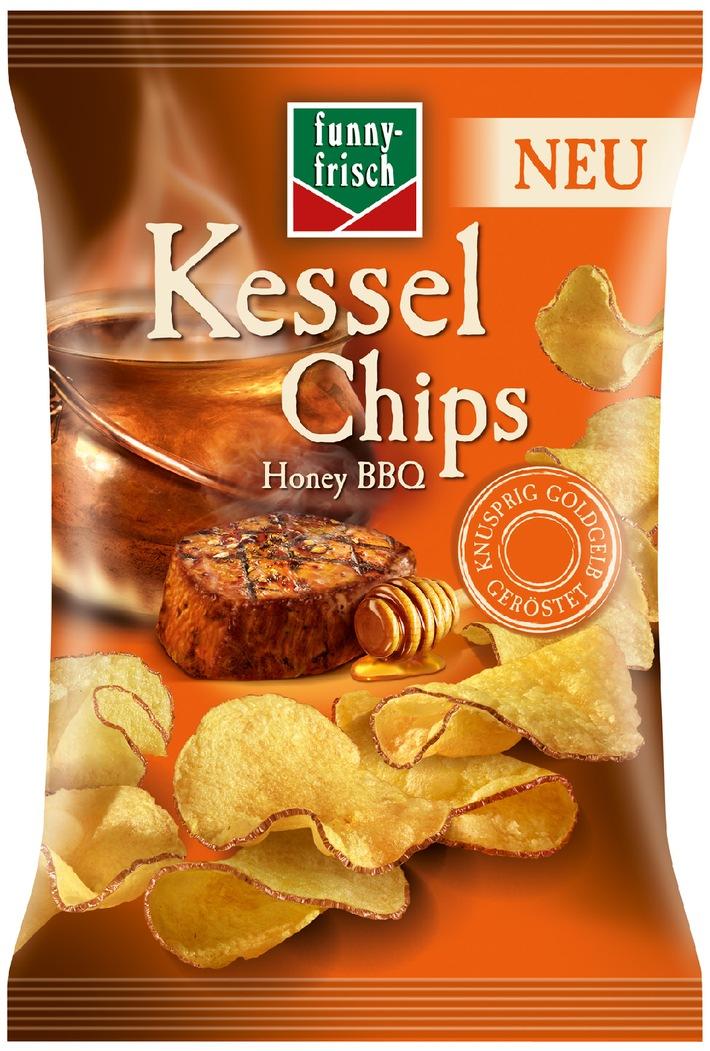 Die würzige Neuheit mit dem extra krossen Biss:  funny-frisch Kessel Chips Honey BBQ