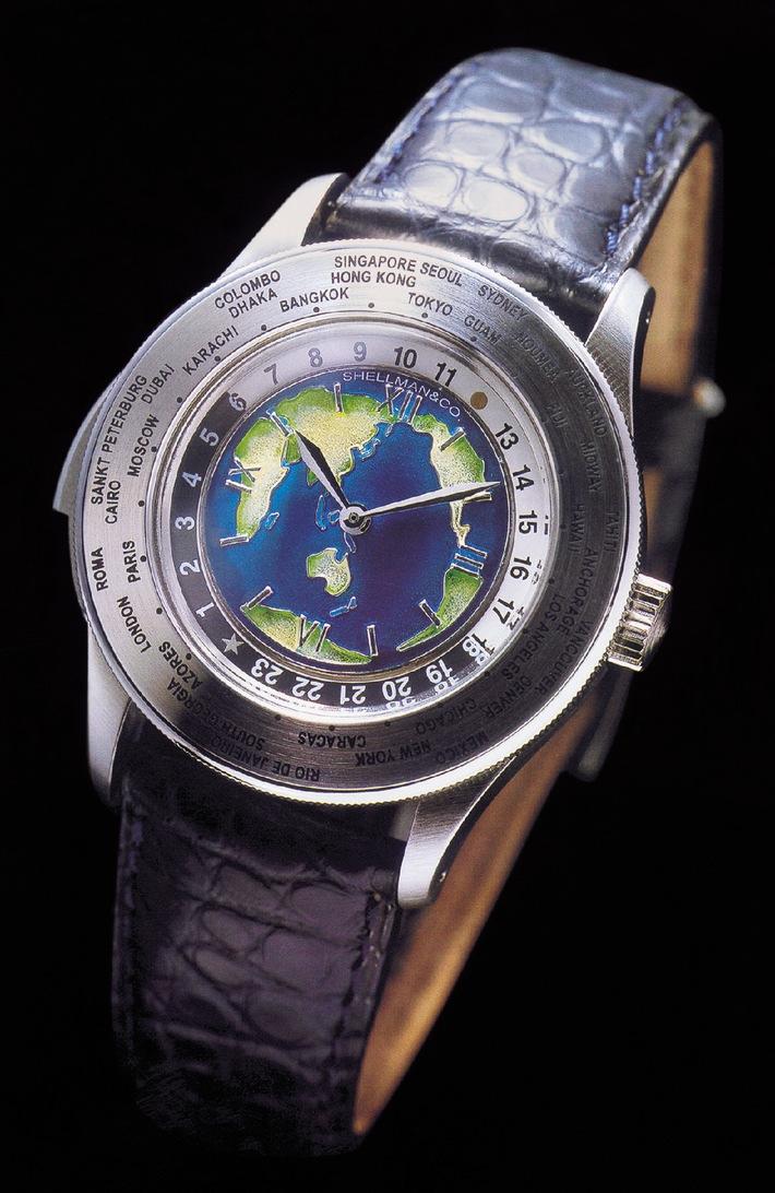 Première mondiale: World-Time Répétition Minute avec Cadran Cloisonné Email par Shellman Co.,Ltd., Tokyo, (BASEL 2002 - hall 5.1; A 21)