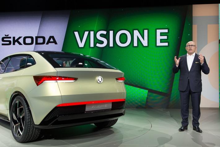 SKODA blickt in die Zukunft: SKODA Studie VISION E feiert Weltpremiere auf der Volkswagen Group Night in Shanghai