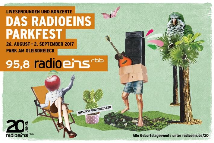 Vom 26. August bis 2. September: Geburtstagsstimmung beim Radioeins-Parkfest! Livesendungen, Konzerte, Comedy und Kino im Berliner Park am Gleisdreieck