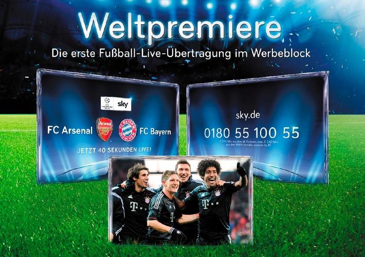 Weltpremiere: Sky schaltet die erste Fußball-Live-Übertragung im Werbeblock