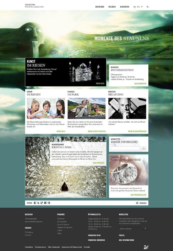 Moderner Riese auf dem Schirm: Der neue Internetauftritt der Swarovski Kristallwelten - BILD