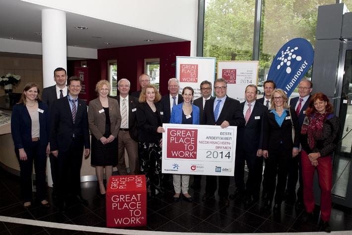Beste Arbeitgeber aus Niedersachsen und aus Bremen ausgezeichnet - Preisverleihung im Haus der Region Hannover