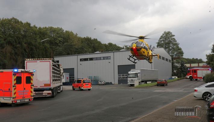 FW-MK: Rettungshubschraubereinsatz nach Sturz von LKW