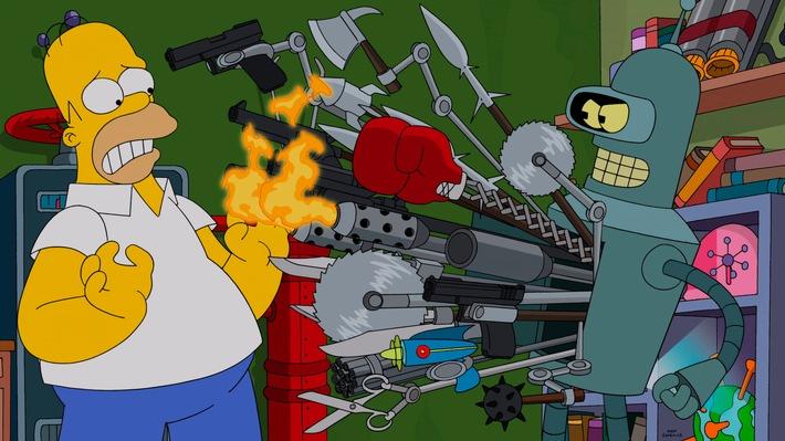 """Homer vs. Bender: """"Die Simpsons"""" treffen in ihrer 26. Staffel auf Matt Groenings """"Futurama"""" - ab 18. August auf ProSieben"""