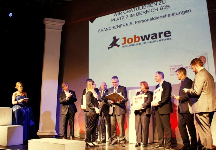 Jobbörse Jobware für hervorragenden Service ausgezeichnet / ServiceRating und Handelsblatt geben die kundenorientiertesten Unternehmen bekannt