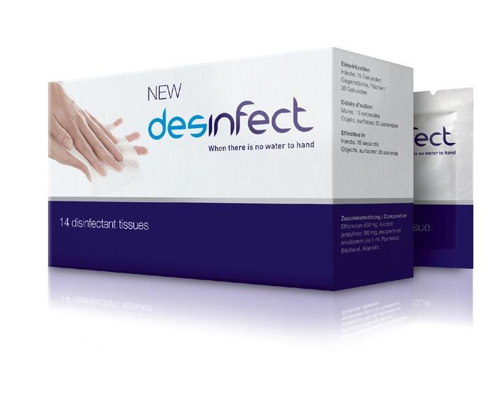 Hygiène des mains et mobilité: desinfect la nouvelle lingette de nettoyage avec effet antivirus garanti