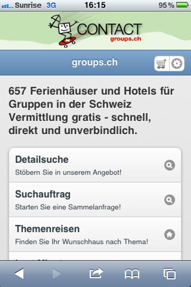 650 Ferienhäuser & Hotels für Gruppen aus der Westentasche: m.groups.ch / Die neue Webapp von CONTACT groups.ch ermöglicht die Planung von Gruppenreisen unterwegs