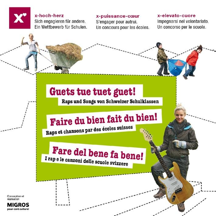"""Migros-Kulturprozent: Gewinner des Songtext-Wettbewerb """"Guets tue tuet guet!"""" 2012/2013 / Schweizer Schulklassen rappen und singen für freiwilliges Engagement"""