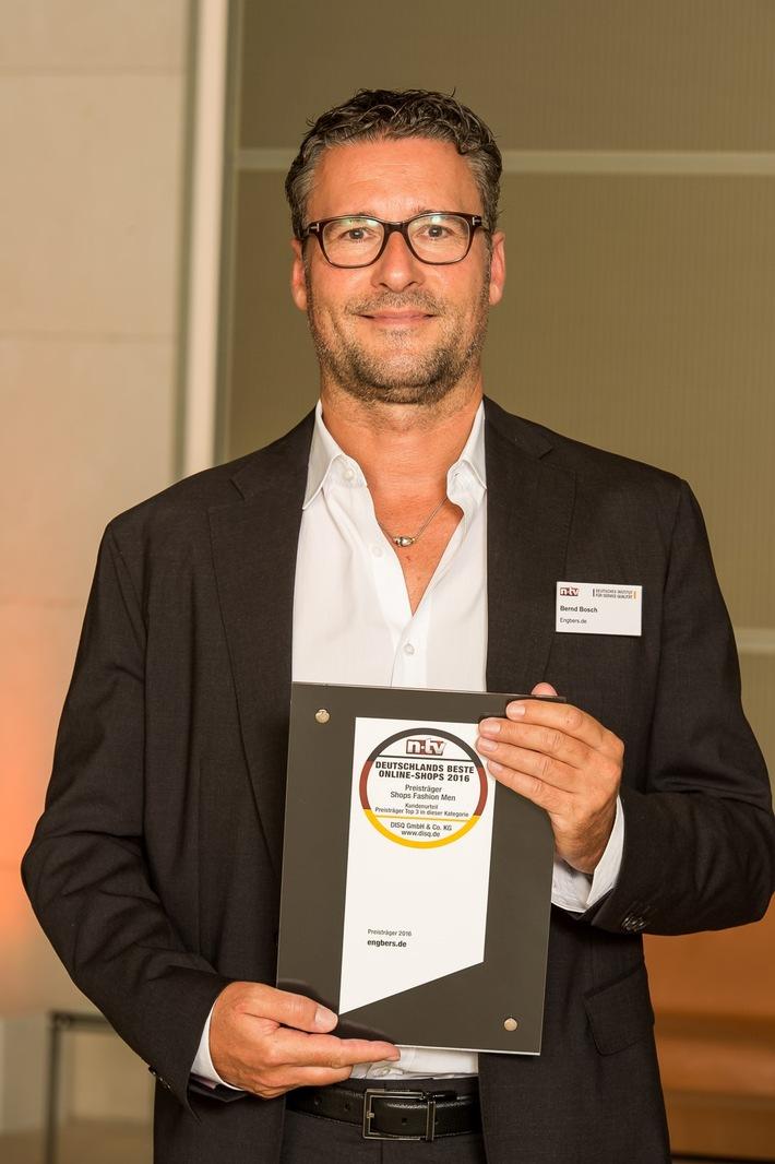 n-tv und das Deutsche Institut für Service-Qualität (DISQ) haben ermittelt: 'engbers.com' ist in der Kategorie 'Fashion men' Deutschlands bester Online-Shop 2016