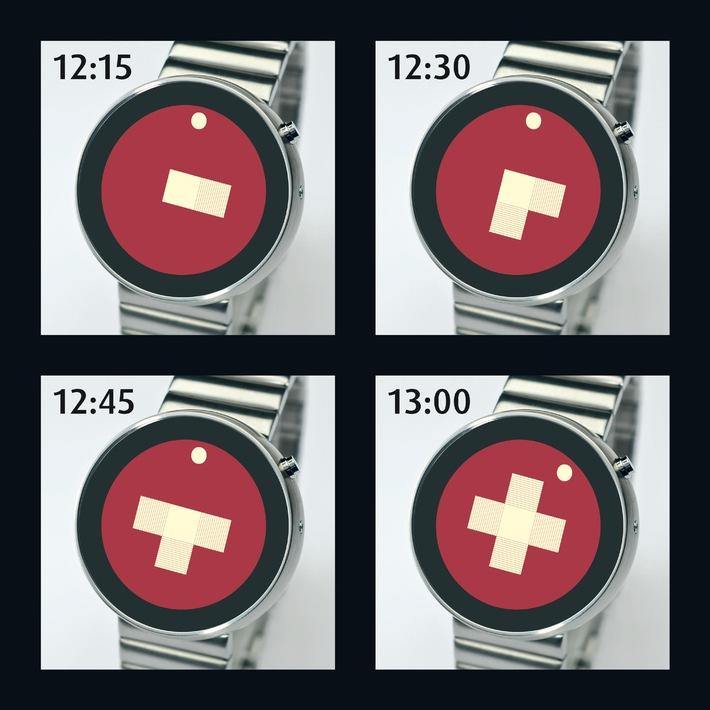 Das Schweizerkreuz als Uhr