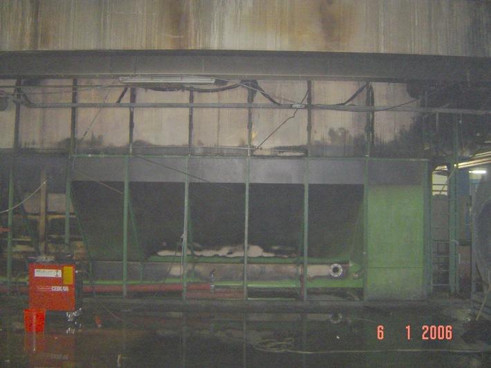 FW-E: Brand in einer Halle im Gewerbegebiet Stadthafen