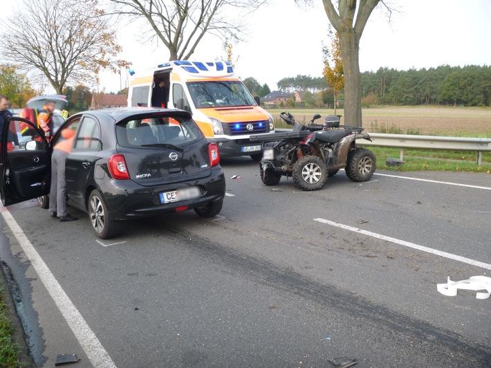 Rosche - Quadfahrer übersieht Pkw - Verletzte