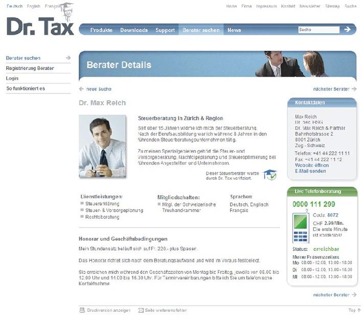 Dr. Tax Beraterplattform bringt Steuer-Experten mit Kunden zusammen