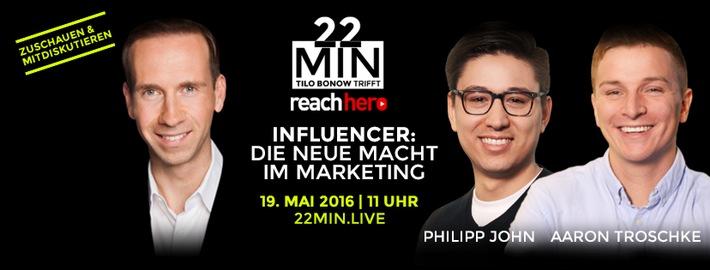 """Die Facebook Live-Diskussion """"22min"""": Influencer - Die neue Macht im Marketing"""