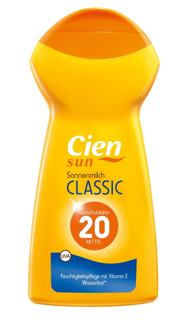"""""""Cien Sun Sonnenmilch Classic"""" von Lidl erneut Testsieger bei Stiftung Warentest / Die Sonnenmilch der Lidl-Eigenmarke """"Cien Sun"""" ist mit der Note """"Sehr gut"""" zum zweiten Mal in Folge auf dem 1. Platz"""