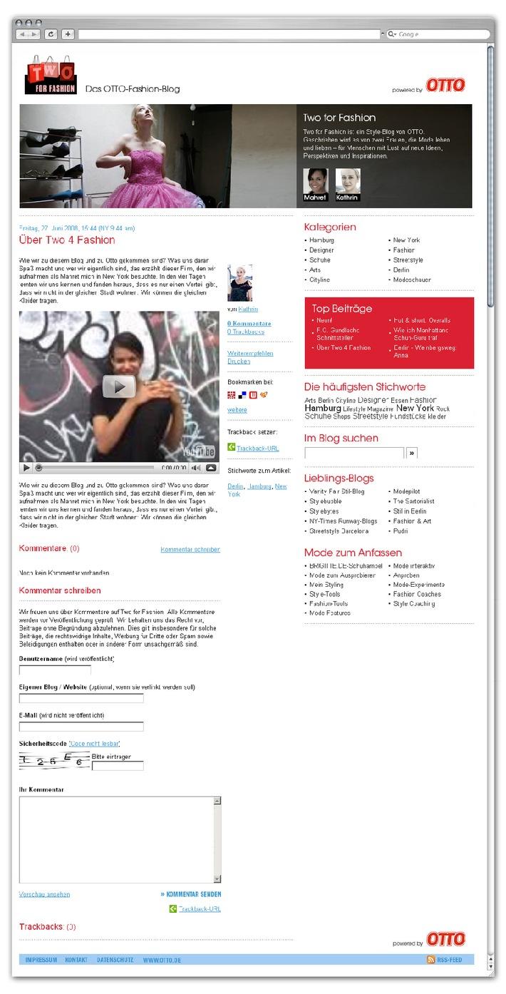 www.twoforfashion.de: OTTO launcht Modeblog