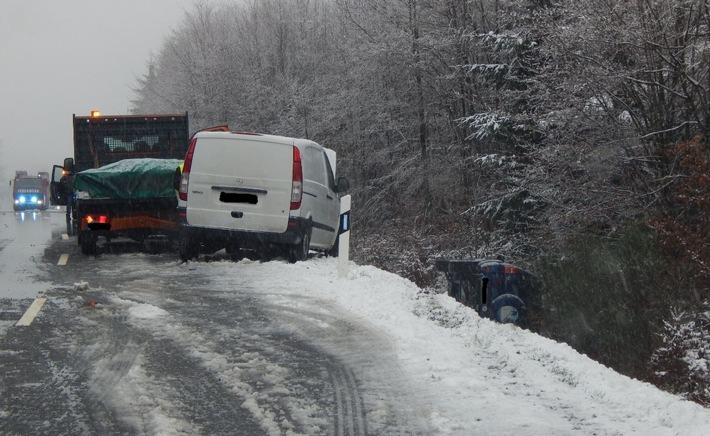 POL-PDMT: Verkehrsunfall mit Folgeunfall bei winterlich glattem Wetter