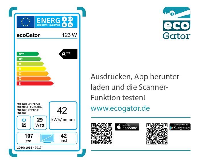 ecoGator findet sparsame Haushaltsgeräte / Neue kostenlose Verbraucher App / 3-Personenhaushalt zahlt jährlich 440 Euro Strom für Haushaltsgeräte / Unabhängige Kaufberatung mit Energielabel-Scanner