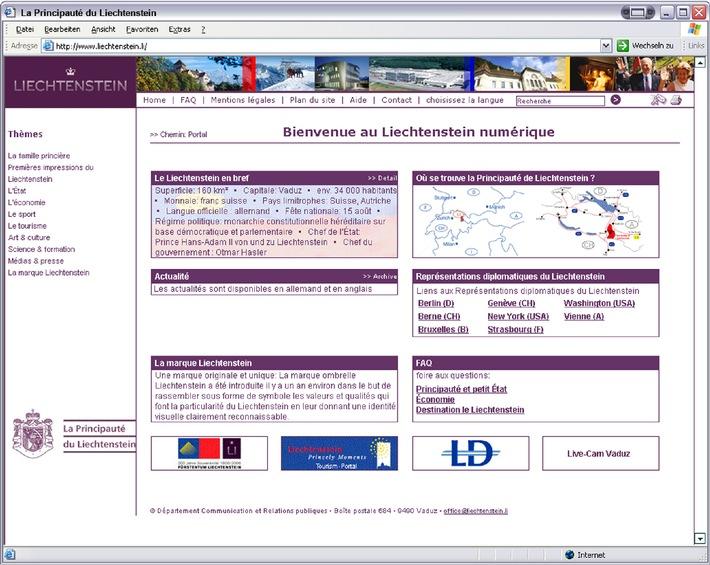 Le portail Internet www.liechtenstein.li également en français