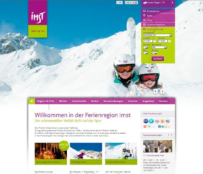 Ferienregion Imst mit neuem Webauftritt: Tiscover sorgt mit Emotion für volle Gästebetten