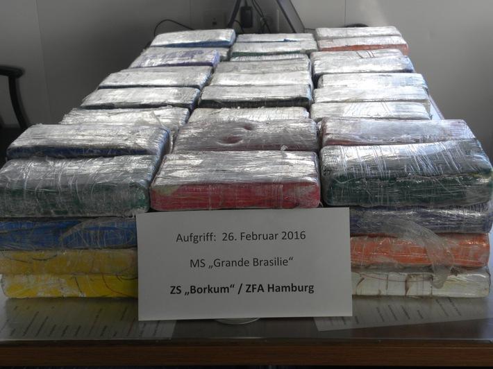 ZOLL-HH: Zollschiff Borkum erfolgreich im Kampf gegen Drogenschmuggel  Zoll in Norddeutschland stellt insgesamt 116 kg Kokain sicher