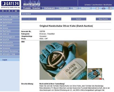 Oliver Kahns Handschuhe auf Internet-Marktplatz