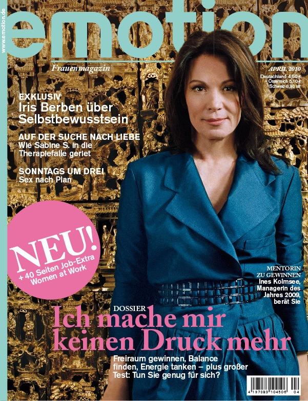 EMOTION - die Aprilausgabe mit 40 Seiten Job-Extra zum herausnehmen (mit Bild) / Im EMOTION Gespräch: Iris Berben, eine der wenigen Diven Deutschlands