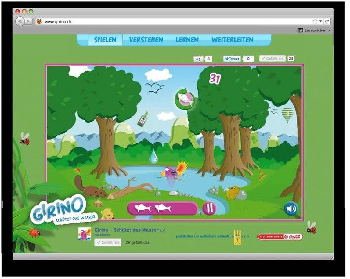 Sauberes Wasser ist nicht selbstverständlich: Pusch und Coca-Cola lancieren das Online-Spiel «Girino - schützt das Wasser»