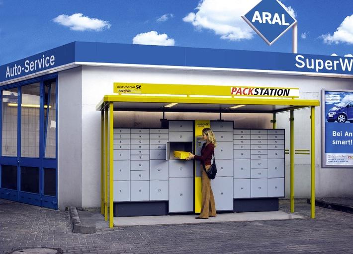 Paket-Station Tankstelle / Neuer Convenience-Service an Aral-Tankstellen im Test - Post-Pakete rund um die Uhr am Automaten abholbar