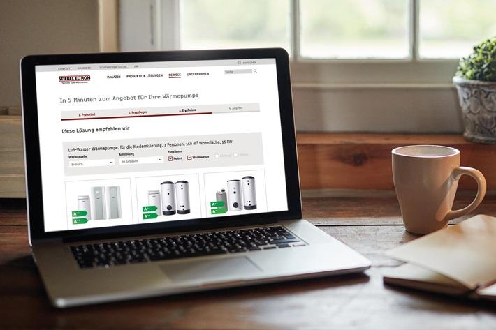 Mit wenigen Klicks zum unverbindlichen Angebot / Neue grüne Heizungsanlage im Netz konfigurieren