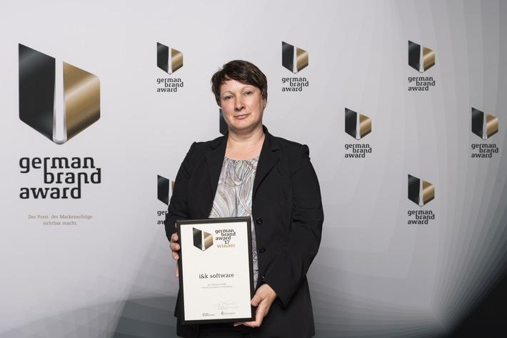 Der Softwarespezialist i&k software GmbH ist Winner des German Brand Award 2017!