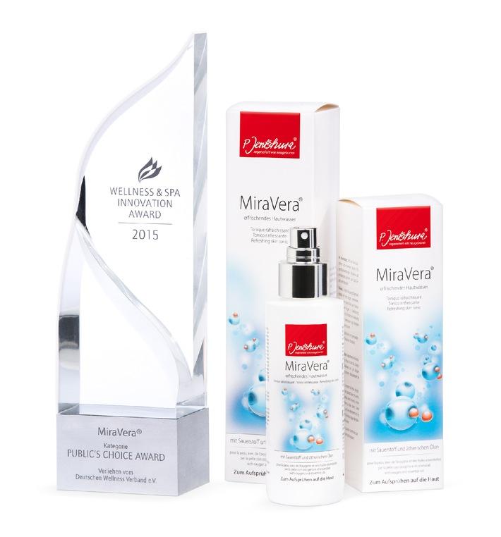 """Deutscher Wellness-Verband zeichnet P. Jentschura-Produkt """"MiraVera"""" mit dem """"Wellness & Spa Innovation Award 2015"""" aus"""