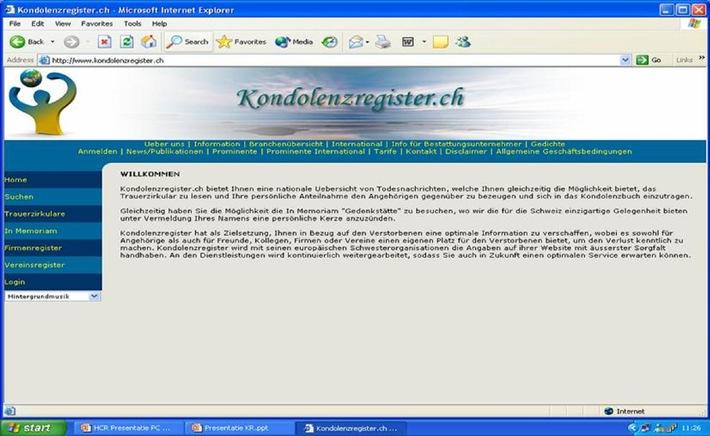 Starker Anfang für das Kondolenzregister.ch