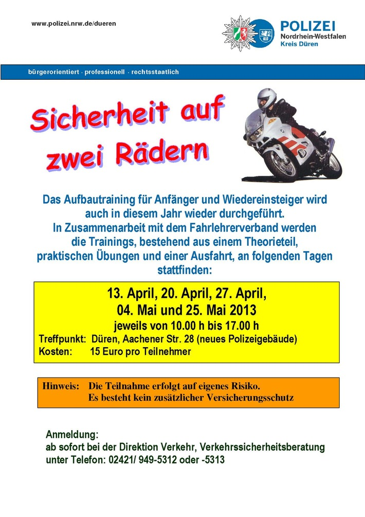 POL-DN: Sicherheit auf zwei Rädern - Polizei bietet Motorradtraining an