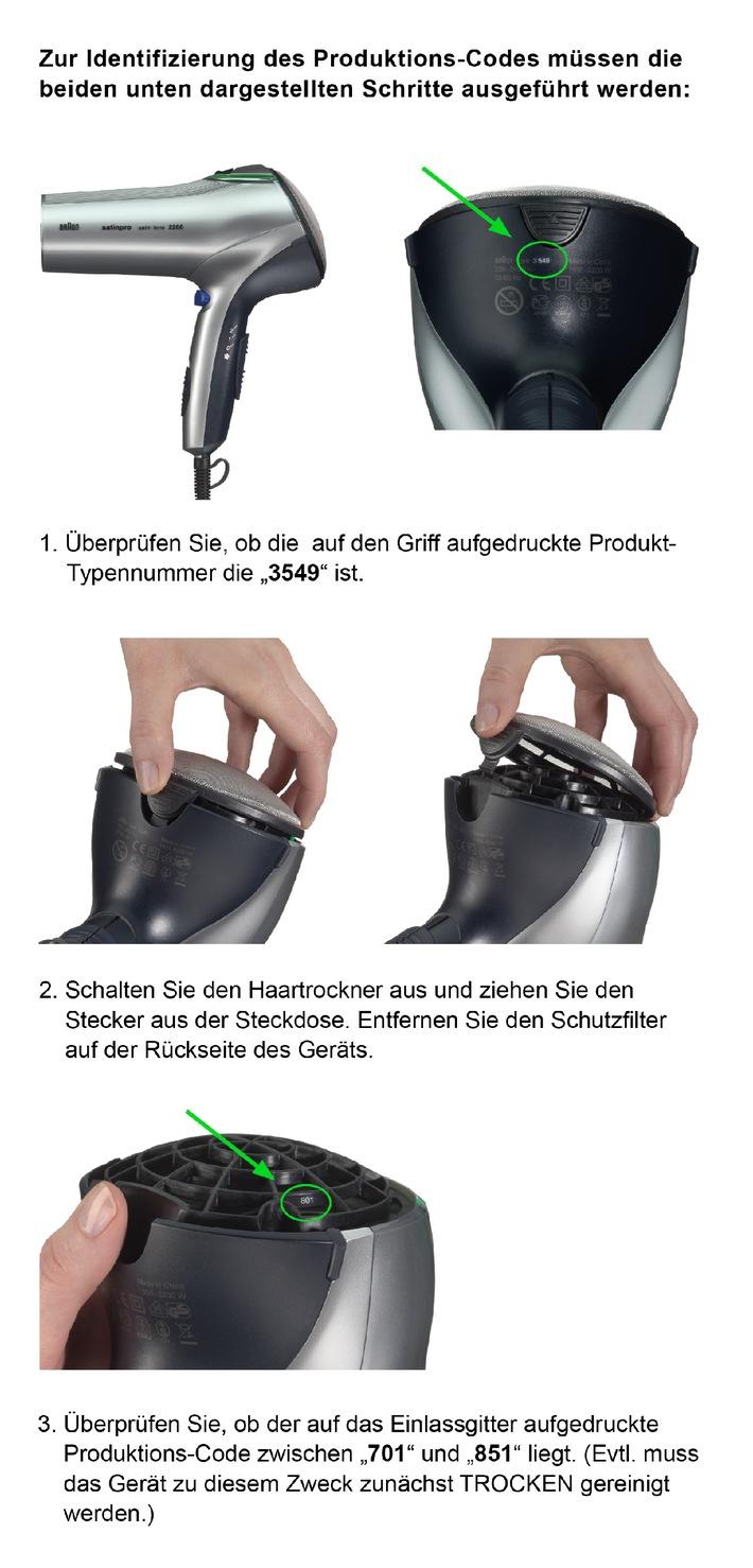 Wichtiger Produktrückruf für Braun Satin Pro Haartrockner und Braun Satin Hair Colour Haartrockner