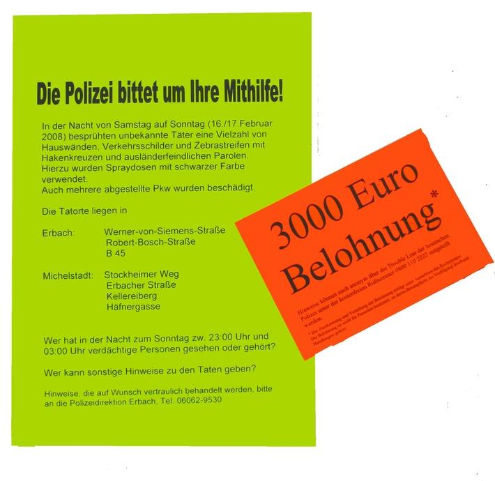 PPSH-ERB: Erbach / Michelstadt - Farbschmierereien mit ausländerfeindlichem und antisemitischen Hintergrund
