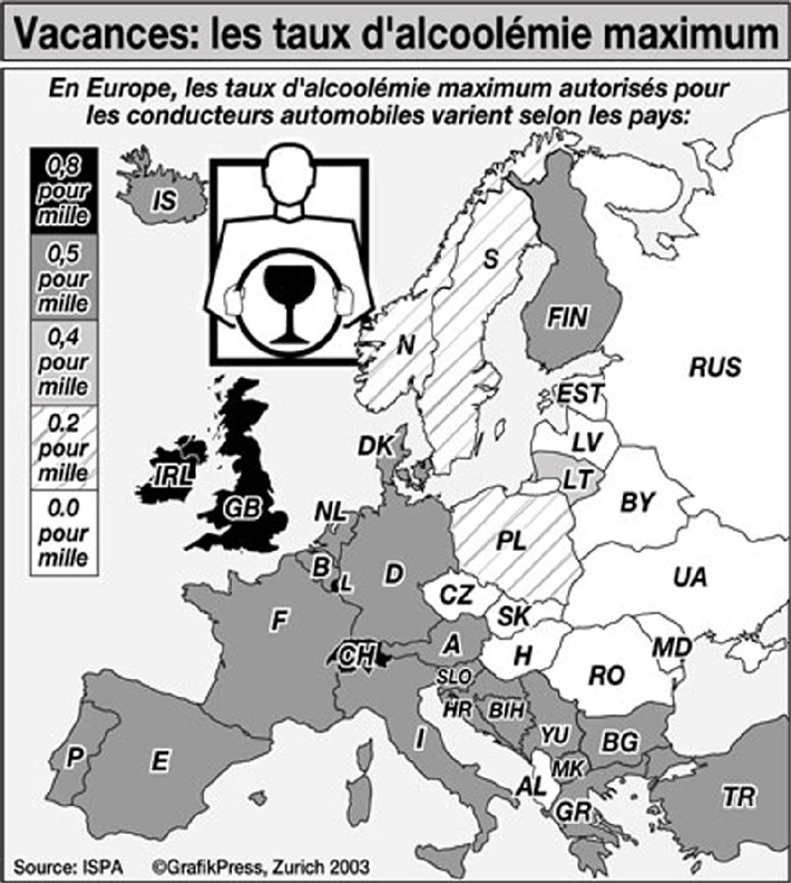 Prévention: le conseil du mois de l'ISPA - Taux d'alcoolémie en Europe: pour garder les idées claires et son permis sur la route des vacances!