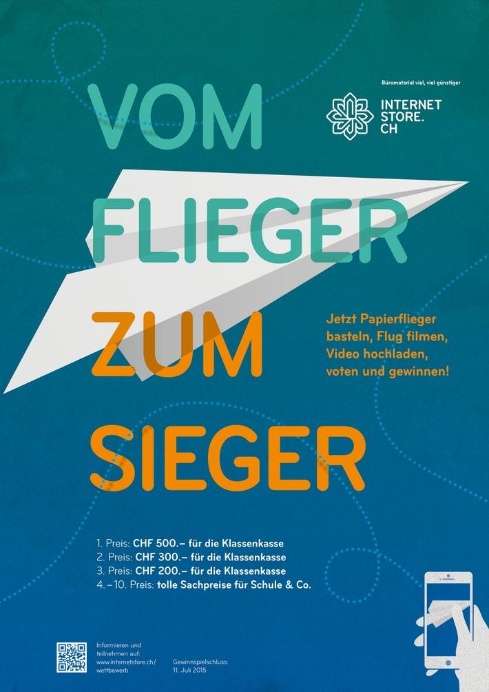 Papierflieger-Wettbewerb für Schweizer Schulen auf internetstore.ch