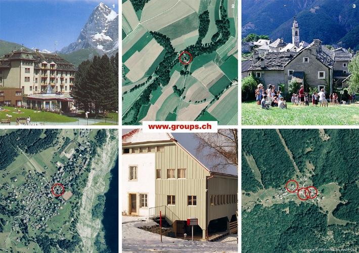 Satellitenkarten mit Zoom erleichtern die Hotel-Buchung: Auf http://www.groups.ch überprüft der Gast sein Ferienziel aus der Luft