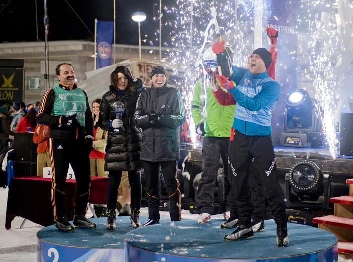 Herausragende Schie�leistungen entschieden den Star-Biathlon 2008: Caroline Beil, Jürgen Vogel und Ricco Gro� siegten in der Staffel