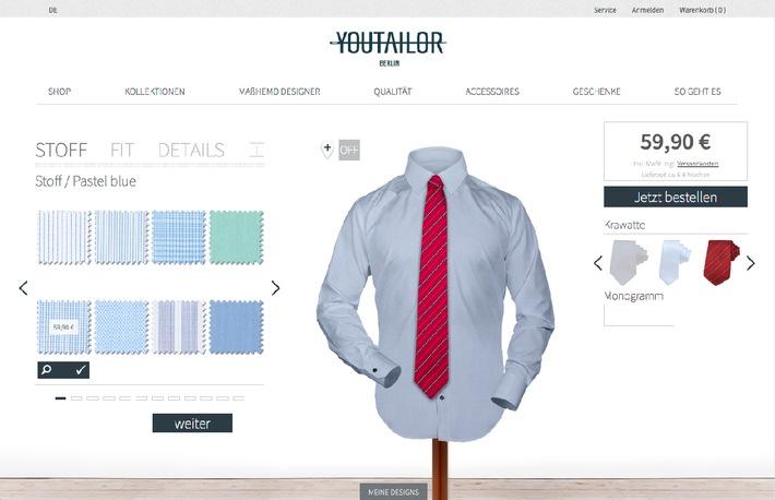 YOUTAILOR erfindet sich neu / Der Berliner Online-Maßhemden-Hersteller startet mit neuer Webseite, eigenen Kollektionen und neuer Markenstrategie