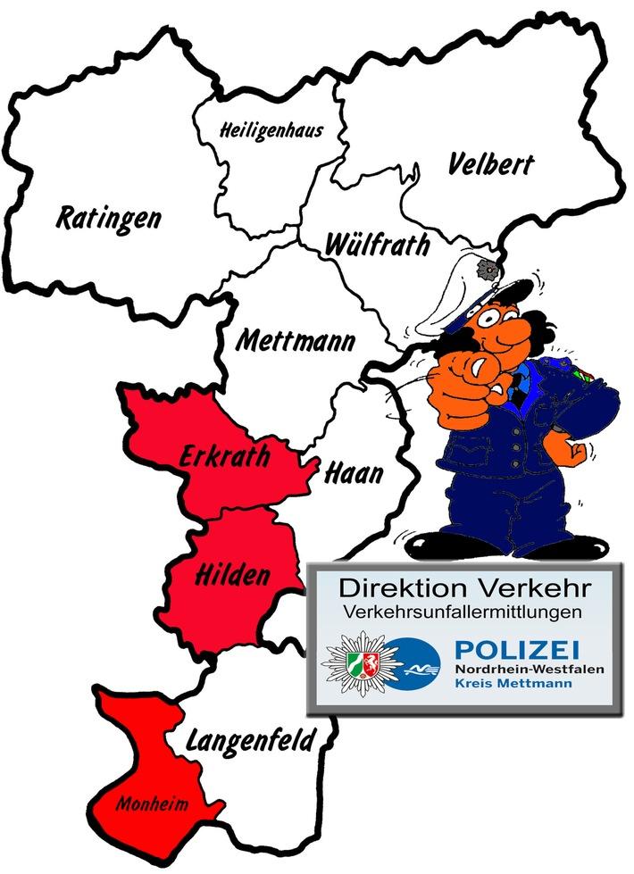 POL-ME: Verkehrsunfallfluchten aus dem Kreisgebiet - Erkrath / Hilden / Monheim - 1708095