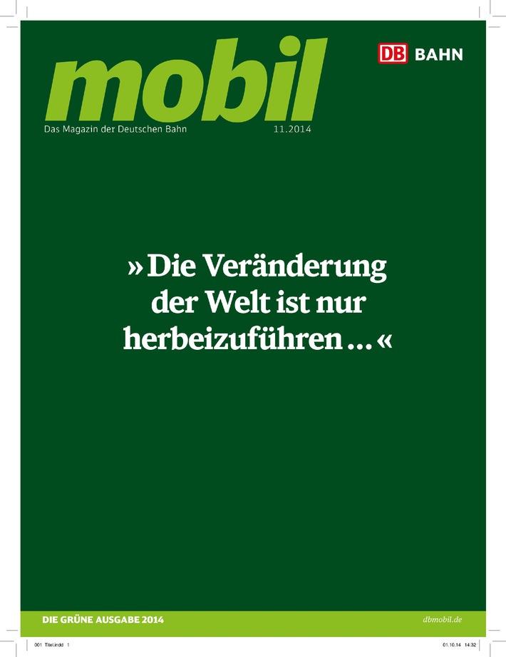 """""""DB mobil""""-Novemberausgabe in grün würdigt CO2-Einsparergebnis der Deutschen Bahn"""