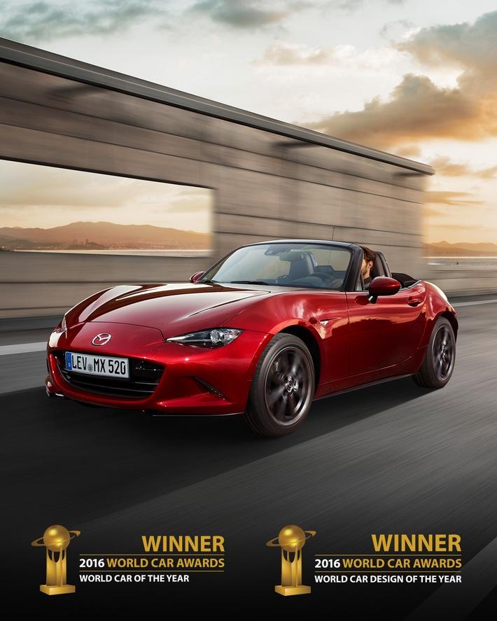 La toute nouvelle Mazda MX-5 remporte le Prix mondial de la Voiture de l'année 2016 et le Prix de la Conception automobile de l'année  Première voiture à remporter les deux prix simultanément