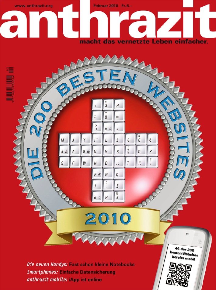 anthrazit: Die 200 besten Websites der Schweiz 2010
