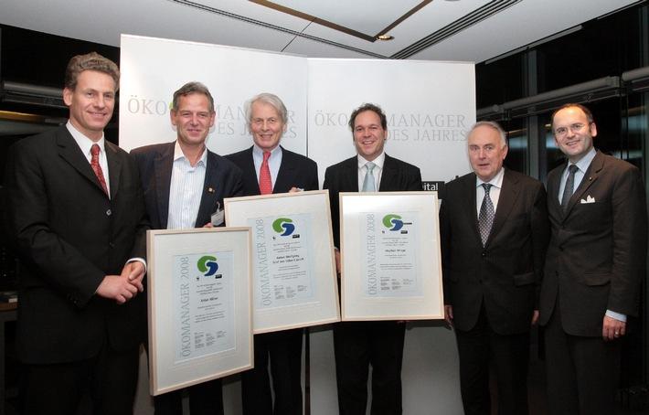 """""""Ökomanager des Jahres"""" von WWF und 'Capital': Familienunternehmer Anton Wolfgang Graf von Faber-Castell und der CEO von Q-Cells, Anton Milner, sind die """"Ökomanager des Jahres 2008"""""""