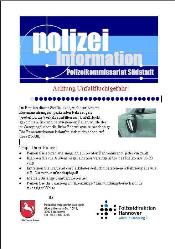 """POL-H: 1.000  Flyer verteilt zum Thema """"Unfallflucht"""" Hannover - Südstadt"""