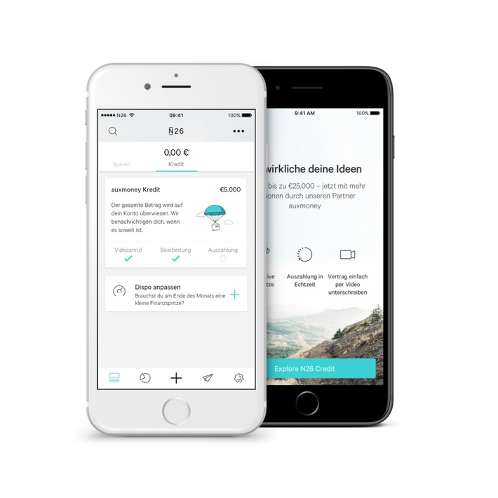 Die Mobile Bank N26 und Kreditmarktplatz auxmoney kooperieren / nN26 erweitert Kreditangebot in Deutschland durch Partnerschaft mit auxmoney