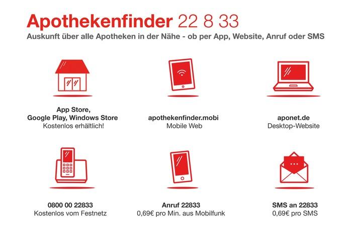 """Urlaub in Deutschland: """"Apothekenfinder 22 8 33"""" hilft überall bei Suche nach Nacht- und Notdienst"""